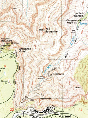 Graphic of topo map for Bright Angel Trail