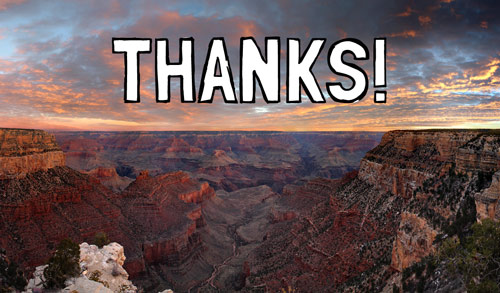 """Graphic that says """"Thanks!"""""""