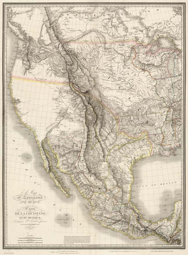 Complete map of Lousiana and Mexico, Pierre Antoine Tardieu, 1820