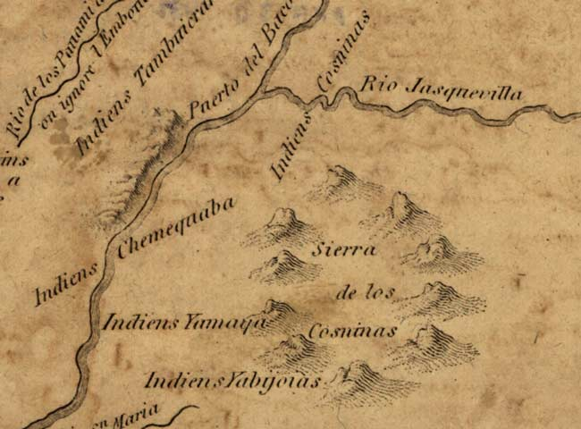 Detail of 1807 Zebulon Pike map showing cliffs along the Colorado River.