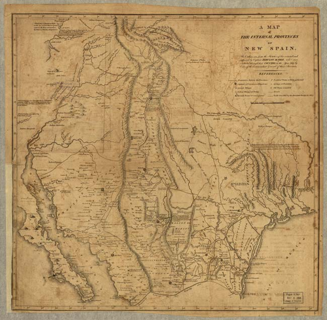 Image of entire 1807 map created by Zebulon Pike