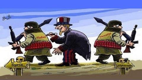 """L'image montre un dirigeant américain en train d'écrire sur le dos d'un rebelle syrien le mot """"Rebel"""". À droite de l'image on a le même terroriste mais avec écrit """"terrorist"""" dans le dos."""