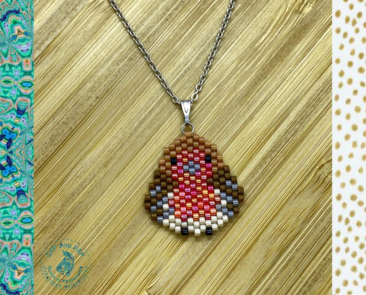 Pendentif Rouge-Gorge en perles tissées à l'aiguille