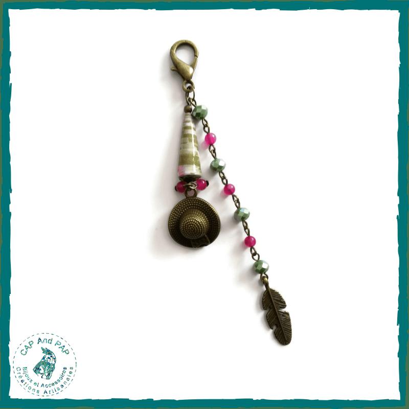 Bijou de sac champêtre - Perle en papier artisanale - Rose et vert