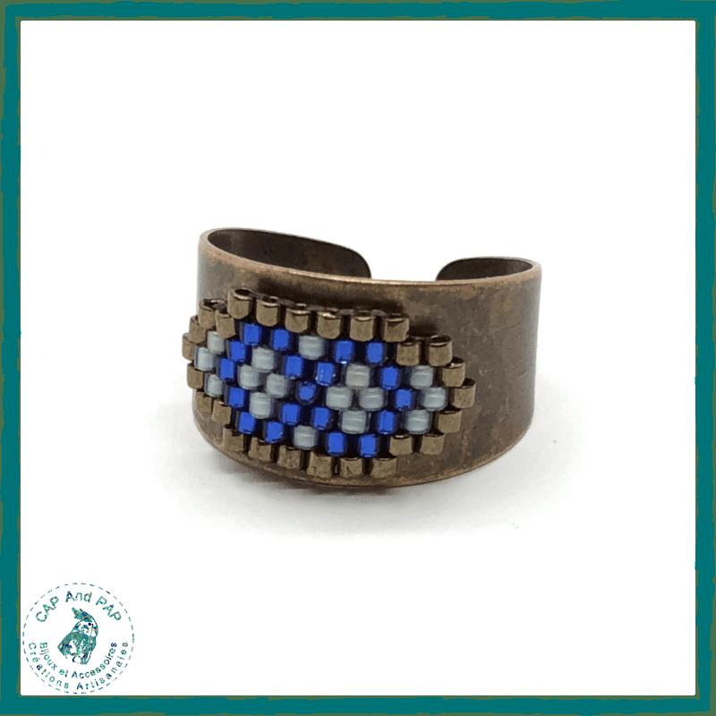 Bague bronze Bleue Perles Miyuki Tissées