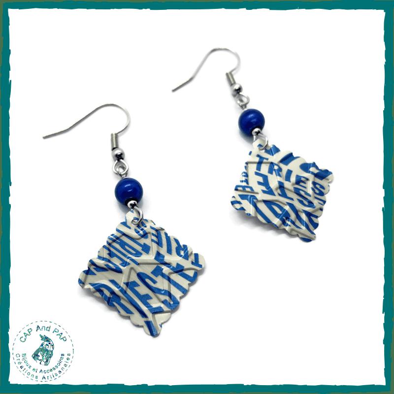 Boucles d'oreilles Trieste - Capsules de café recyclées et perles magiques bleues