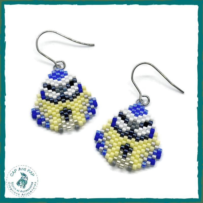 Boucles d'oreilles mésanges bleues en perles tissées