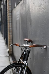 Bike with leather bar grips