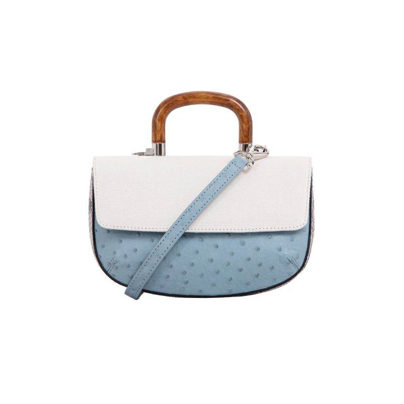 Picco in Sapphire Ostrich & Natural Python with Canvas 1