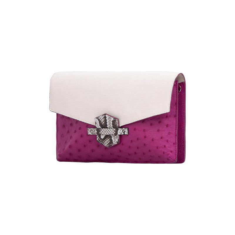 Ivy in Orchid Ostrich & Canvas with Python Trim 2