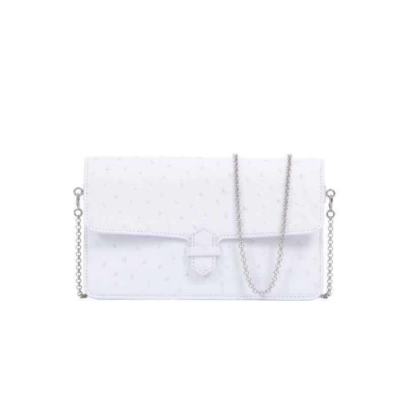 Accordion Crossbody Wallet in White Ostrich 1