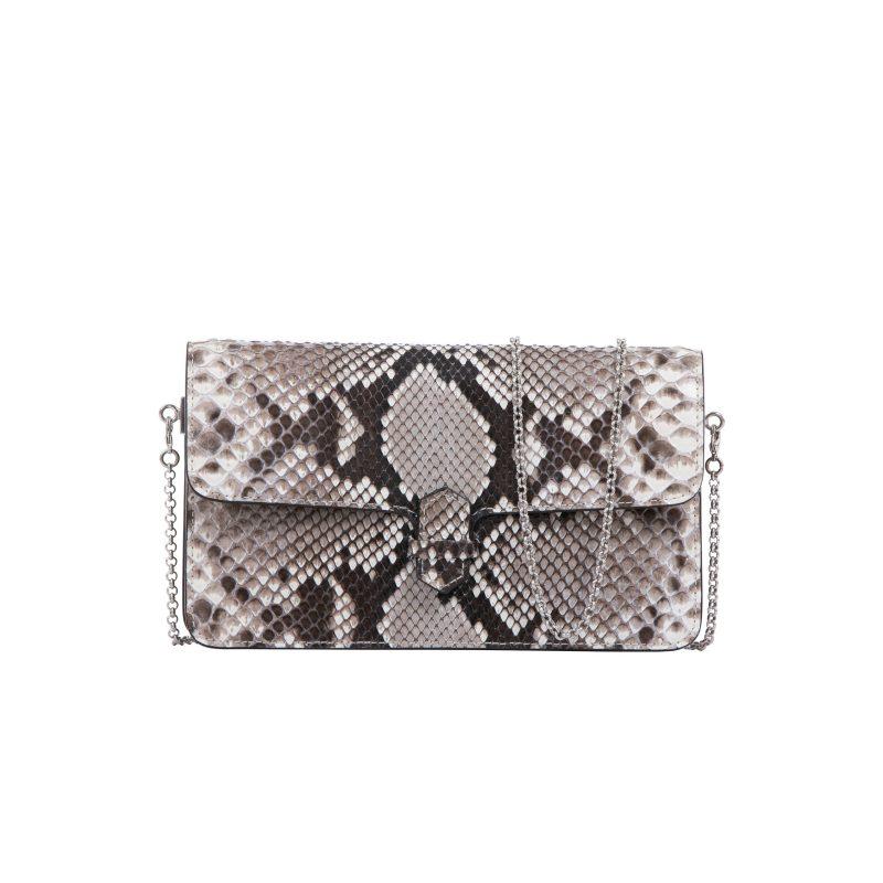 Accordion Crossbody Wallet in Natural Shiny Python 1