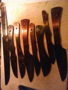 Knives Blackened from oil and heat