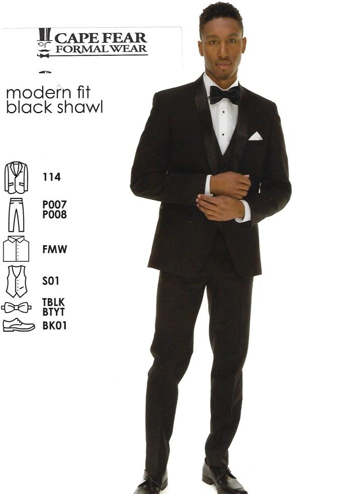 Modern Fit Black Shawl