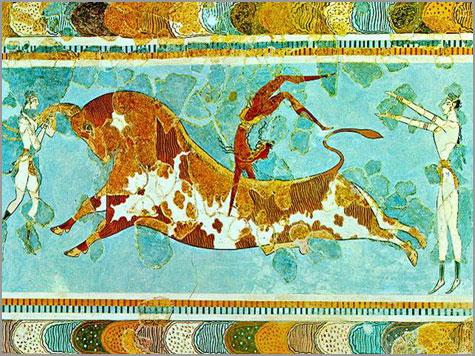 Salto ritual do touro. Pintura a fresco, Palácio de Cnossos, Creta, c. 1450-1500 a.C.