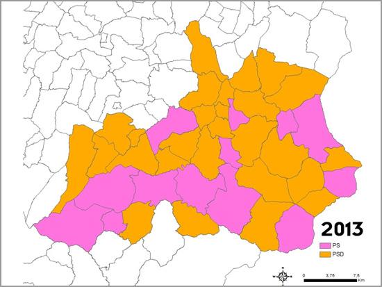 Mapa Eleições Autárquicas Concelho Sabugal 2013 - Capeia Arraiana