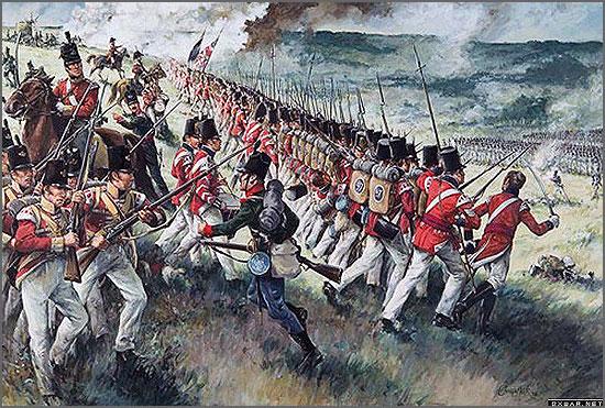 Infantaria inglesa enfrenta as tropas napoleónicas