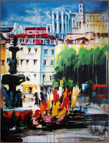 Rossio - pintura de Alcínio Vicente
