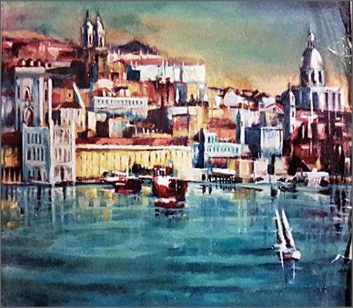 Lisboa ao amanhecer - pintura de Alcínio