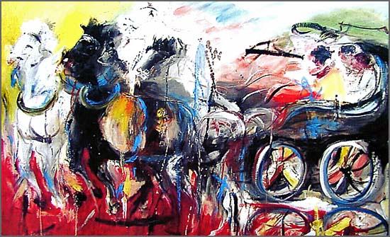 Uma pintura de Alcínio plena de cor e de movimento