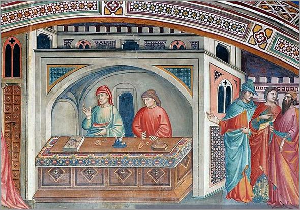 Cambistas-banqueiros a trabalhar na sua banca. Pormenor de uma pintura a fresco italiana do séc. XIV - Adérito Tavares - Capeia Arraiana