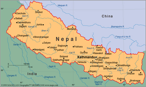 Mapa do Nepal - Capeia Arraiana