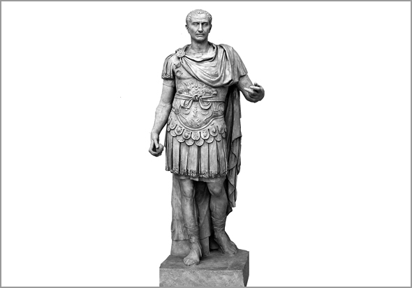 Júlio César. Estátua existente no Forum Romano, na cidade de Roma