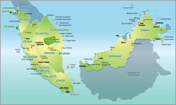 Mapa da Malásia e Sri Lanka