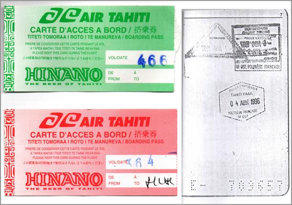 Carimbos do Tahiti no passaporte e bilhetes da Air Tahiti
