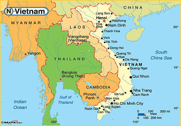 Mapa da Indochina - Tailândia, Laos, Vietname e Cambodja