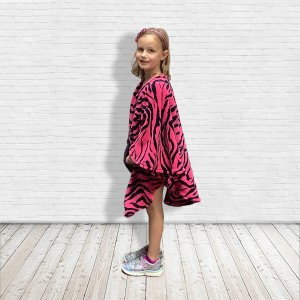 Hospital Gift warm pink zebra fleece poncho