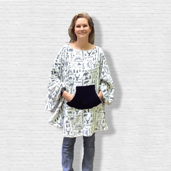 Teen Adult Hospital Gift Fleece Poncho Cape Ivy Be Courageous