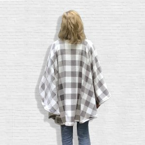Plaid Fleece Poncho Cape