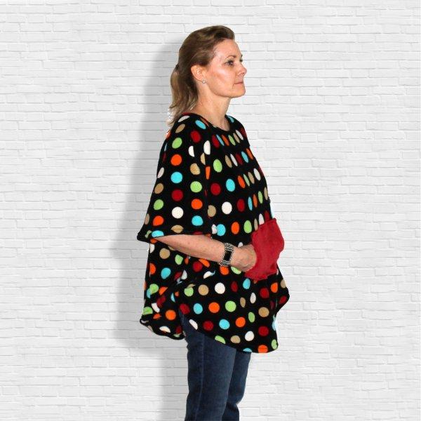Warm Fleece Poncho Polks Dots