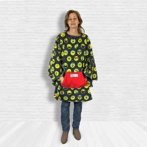 Teen Adult Hospital Gift Fleecer Poncho Cape Ivy Emojis on Gray