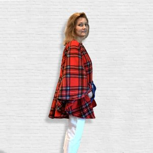 Adult Hospital Gift Fleece Poncho Cape Ivy Red Stewart plaid