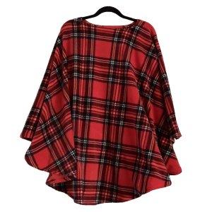 Adult Mens Hospital Gift Fleece Poncho Cape Ivy Red Stewart Plaid