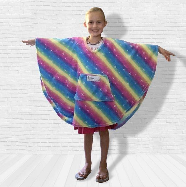 Child Hospital Gift Fleece Poncho Cape Ivy Rainbow Stars