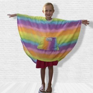 Girl Child Hospital Gift Fleece Poncho Cape Ivy Rainbow