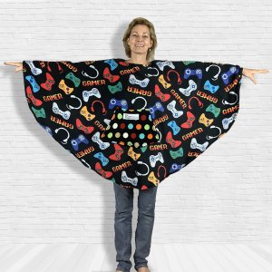 Adult Teen Hospital Gift Fleece Poncho Cape Ivy Gamer Black
