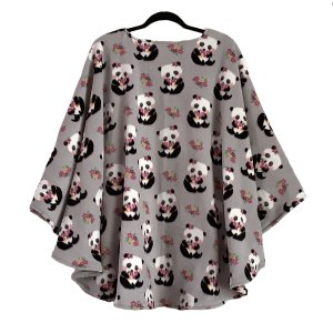 Adult Hospital Gift Fleece Poncho Cape Ivy Panda and Posies