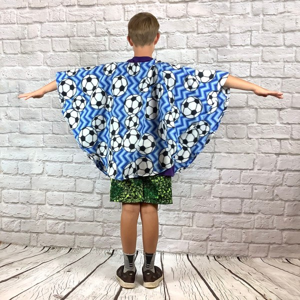 Child Hospital Gift Fleece Poncho Cape Ivy Soccer Chevron