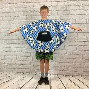 Boy Child Hospital Gift Fleece Poncho Cape Ivy Soccer Chevron