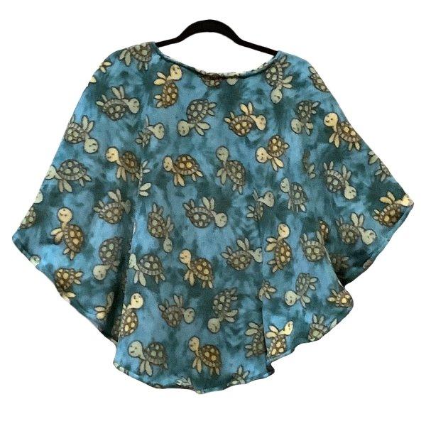 Child Hospital Gift Fleece Poncho Cape Ivy Turquoise Turtles