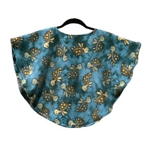 Toddler Hospital Gift Fleece Poncho Cape Turquoise Turtle