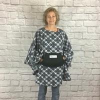 Adult Hospital Gift Fleece Poncho Cape Ivy Black White Medallion