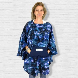 Adult Hospital Gift Fleece Poncho Cape Ivy Starry Night Constellations