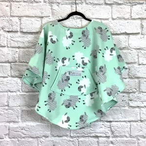 Child Hospital Gift Fleece Poncho Cape Ivy Leaping Lamb Mint