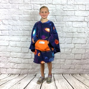 Child Hospital Gift Fleece Poncho Cape Ivy Solar System Blue