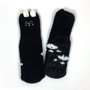 Child Small Adult non-slip gripper socks Cape Ivy Black Cats